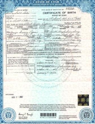 certified birth certificate