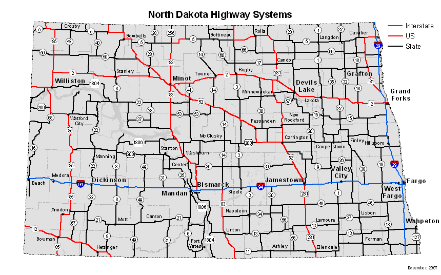 NDDOT - Highway Systems Map