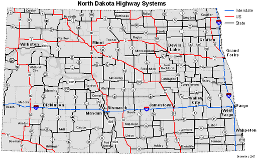 North Dakota Highway System map