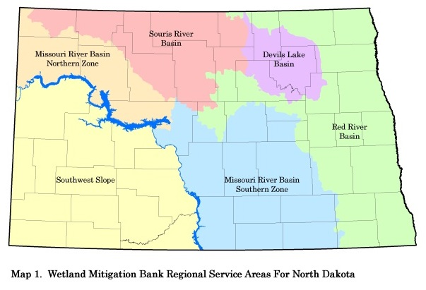 Wetland Mitigation Bank Regional Service Area for North Dakota