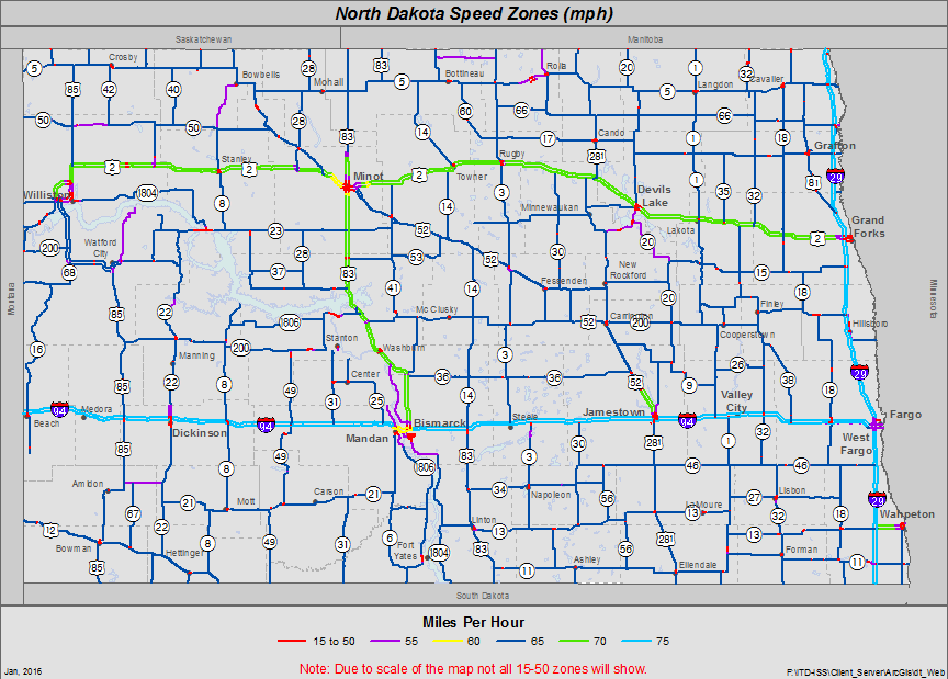 North Dakota Speed Zone Map - Maps of north dakota