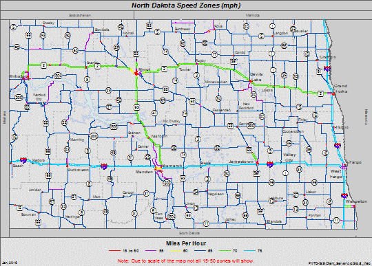 Highway and interstate speed zone map