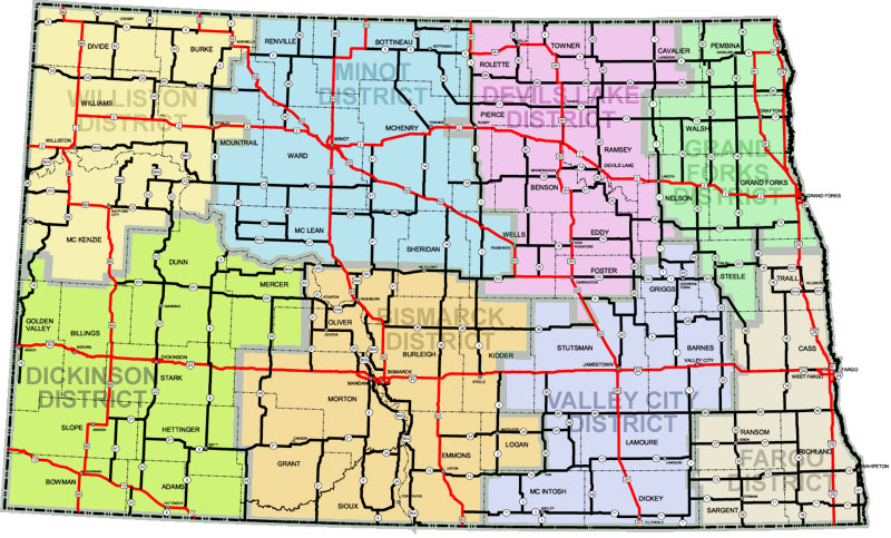 NDDOT Divisions And Districts - State map of north dakota
