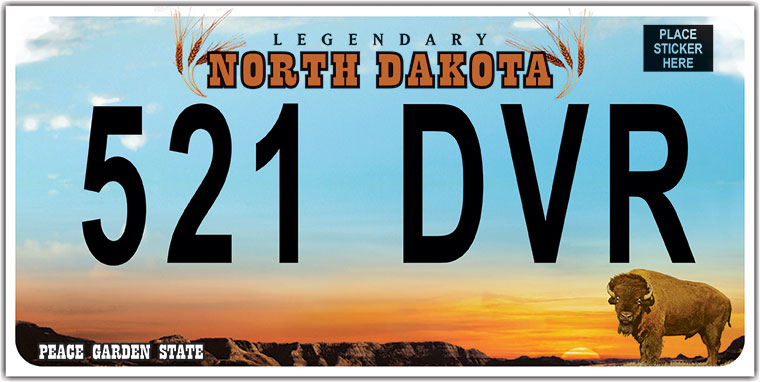 New and old North Dakota Motor Vehicle Plates