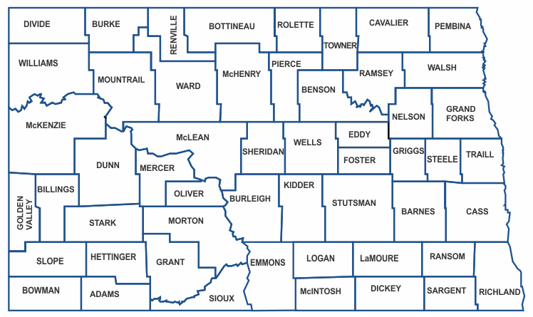 county map of north dakota