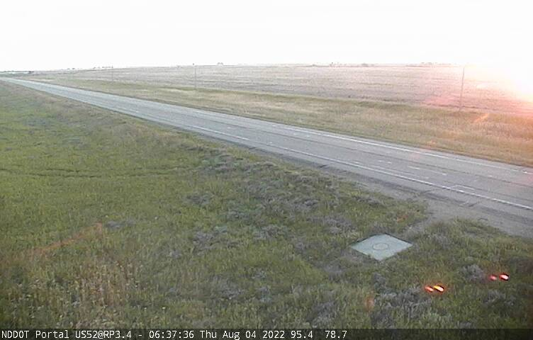 Traffic camera looking at North Dakota Hwy 52 about 3 miles from the Canadian North Portal border crossing.